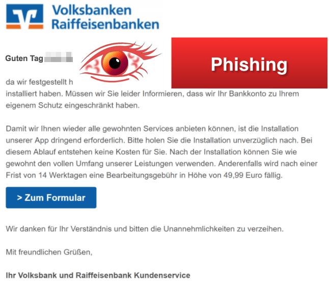 2018-03-07 Volksbank Spam Sicherheits-App Ihr VR Konto wurde eingeschränkt