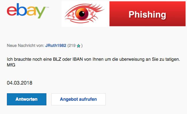 2018-03-08 ebay Phishing Spam Neue Nachricht