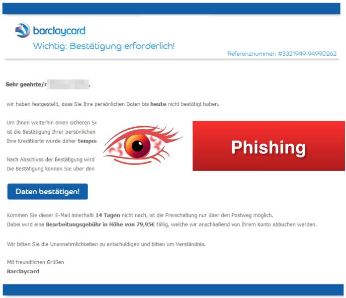 2018-03-12 Barclaycard Phishing Mail Kreditkarte gesperrt