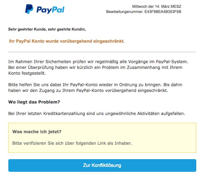 2018-03-15 PayPal Spam Phishing Ihre Mithilfe ist erforderlich - Nutzerkonto eingeschraenkt