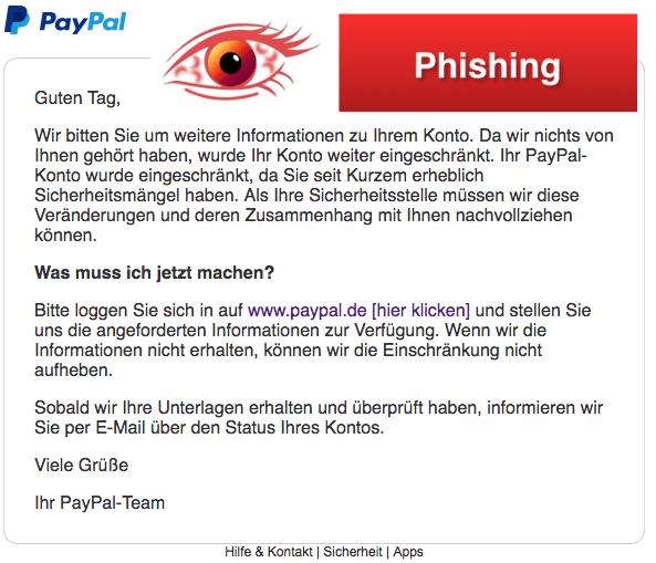 2018-03-20 PayPal Phishing aktuell Bitte aktualisieren Sie Ihr Konto