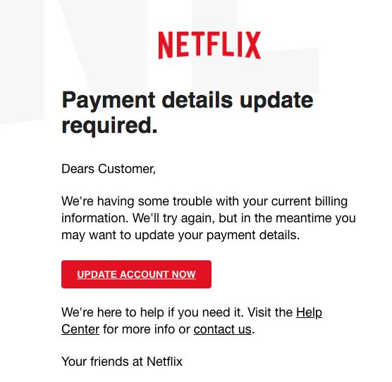 2018-03-21 Netflix Spam aktuell Payment details update required