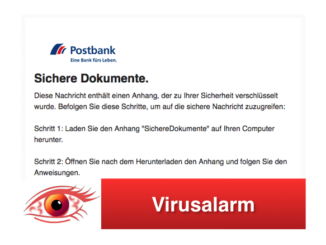 2018-03-23 Postbank Fake Mail Sichere Dokumente Virus