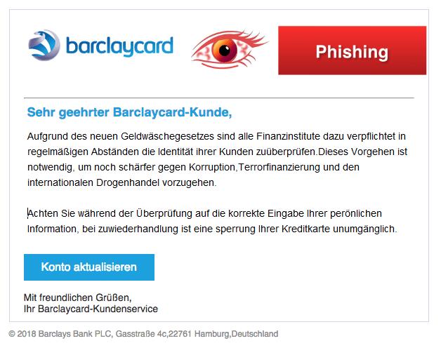 2018-03-26 Barclaycard Phishing Nachricht von Ihrem Online-Kundenservice Geldwaeschegesetz