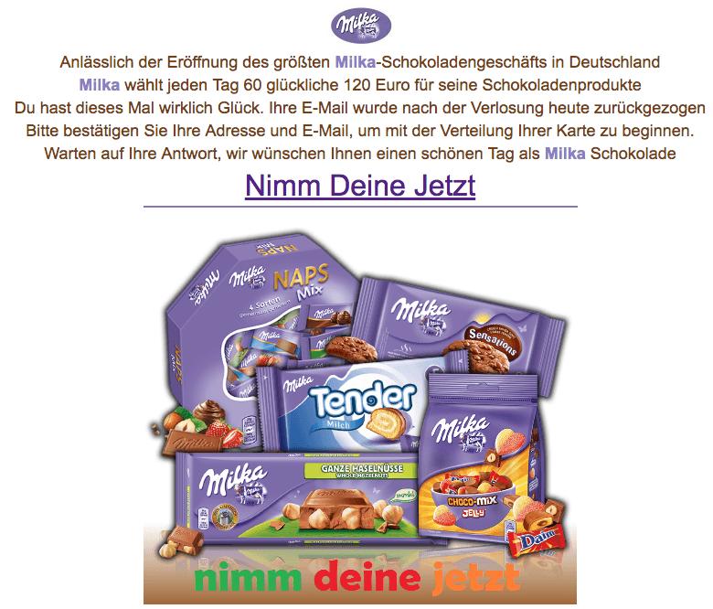 2018-03-26 E-Mail im Nmaen von Milka ist Fake