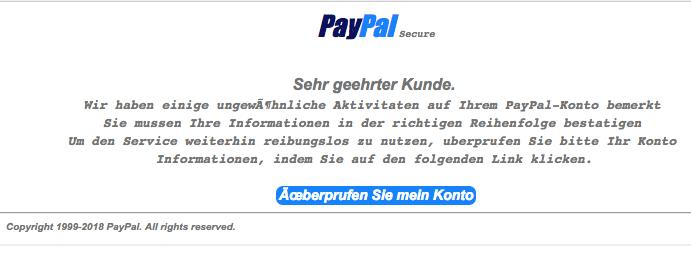 2018-03-26 PayPal Spam aktuell Ungewohnliche Aktivitaten in Ihrem PayPal Konto