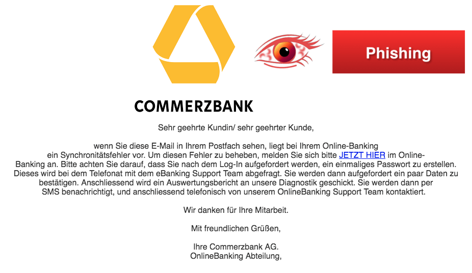2018-03-27 Commerzbank Spam Mail Onlinebanking Probleme