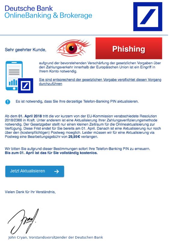 2018-03-27 Deutsche Bank Fake-Mail aktuell Nachricht vom Kundendienst