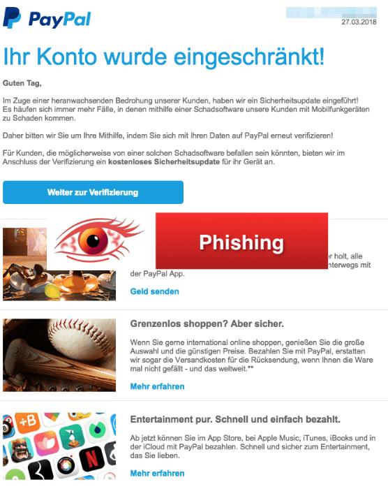 2018-03-27 PayPal Spam aktuell Sicherheitsupdate