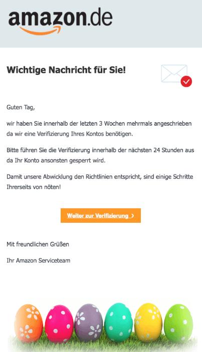 2018-03-28 Amazon Spam aktuell Verifizierung Ihres Kontos
