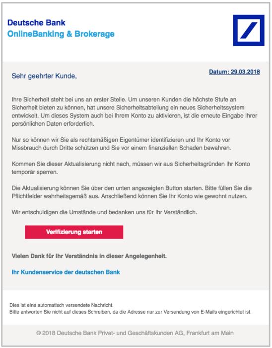 2018-03-29 Deutsche Bank Phishing Deutsche Bank - Ihre Mithilfe ist erforderlich