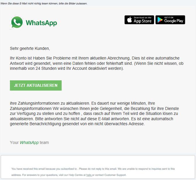 2018-03-31 WhatsApp aktualisieren Fake Spam