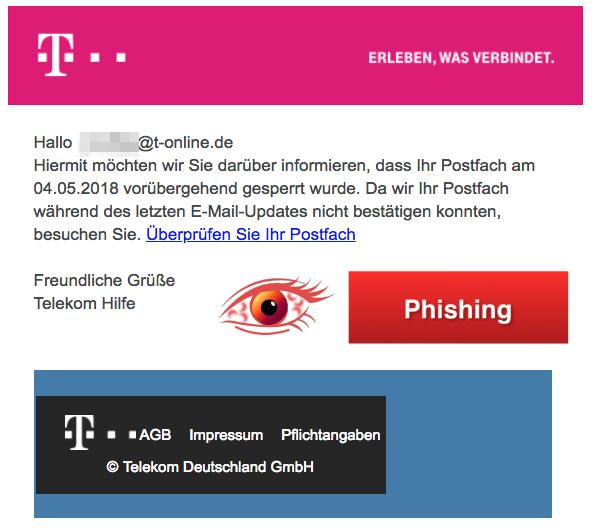 2018-04-06 Telekom Phishing Mail Ihre Mailbox wurde gesperrt