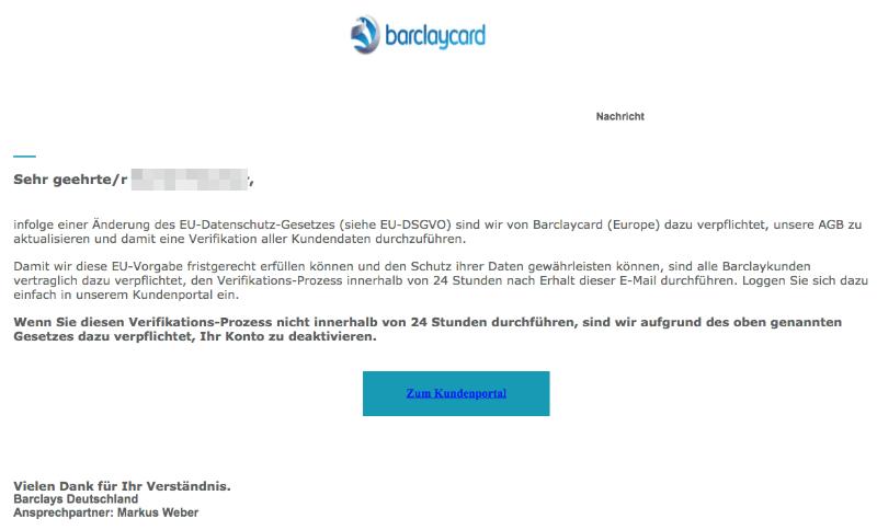 2018-04-09 Barclaycard Spam Phishing Barclaycard Online-Service Schliessung Ihres Kontos