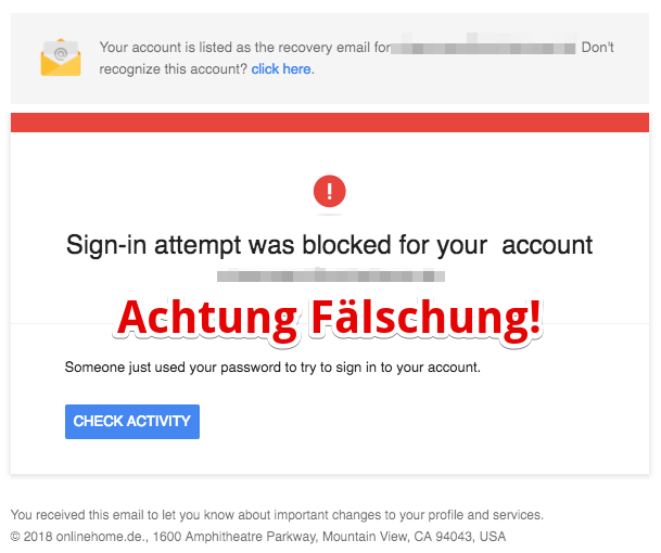 2018-04-16 Fake-Mail im Namen von Google Critical security alert for your account