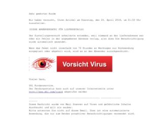 2018-04-25 DHL Spam Mail Ihre DHL Paket-Ankunftsanzeige Viruswarnung