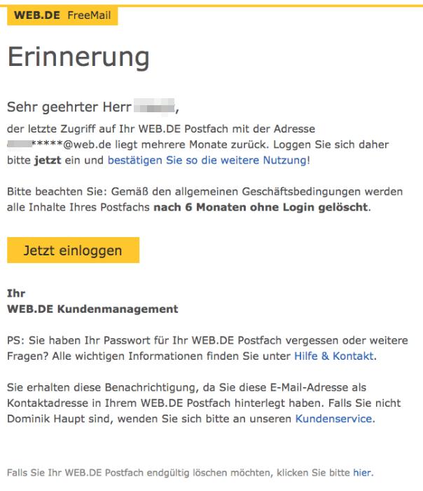 2018-05-09 E-Mail von web-de Erinnerung- WEB.DE Postfach-Inhalt wird in Kürze geloescht