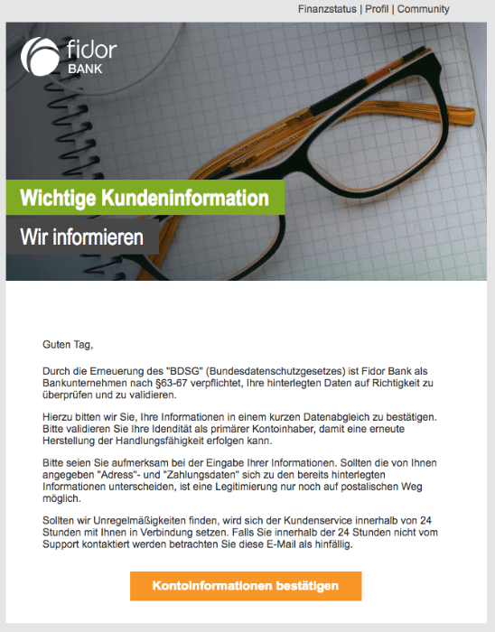 2018-05-16 Fidor Spam-Mail Systemnachricht