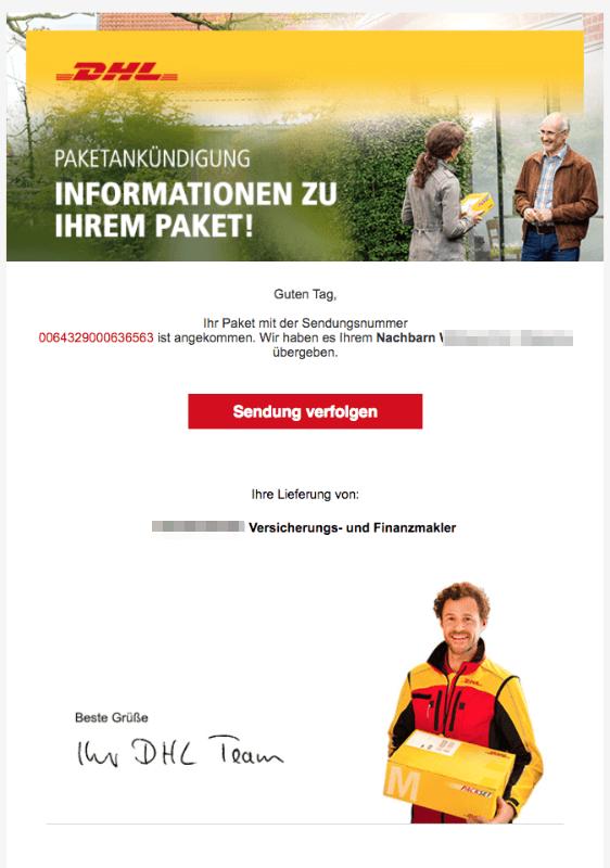 2018-07-30 DHL Paket Spam Mail Ihr DHL Paket liegt bei Ihrem Nachbarn