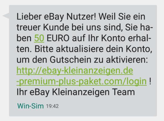 2018-07-30 ebay Spam SMS Fake 50 Euro Gutschein