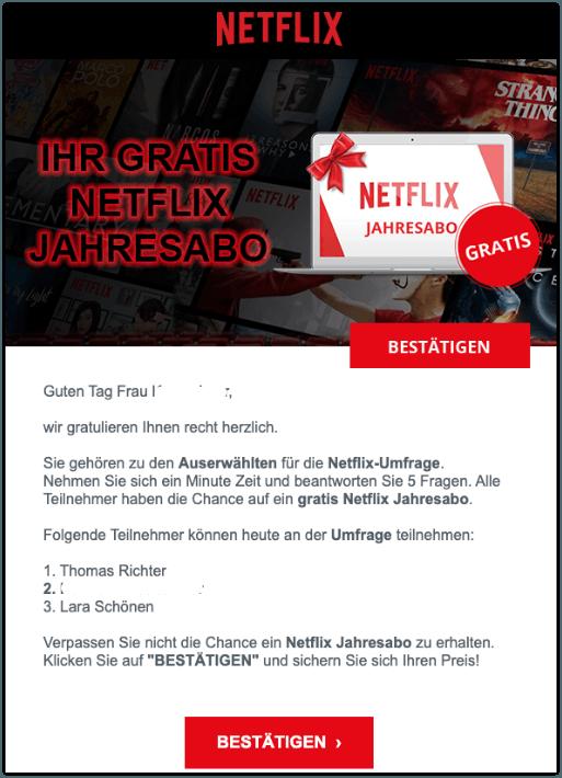 2019-09-20 Netflix Jahresabo Spam-Mail Ihr Netflix Jahresabo jetzt sichern