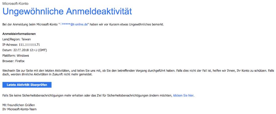 E-Mail Ungewöhnliche Anmeldeaktivität für das Microsoft-Konto