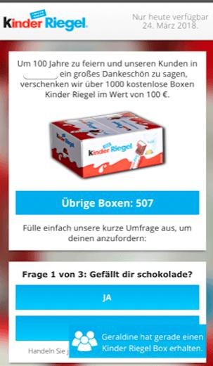 Fake Kettenbrief Kinder Riegel Box 1