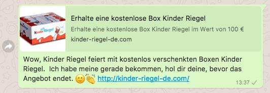 Fake Kettenbrief Kinder Riegel Box