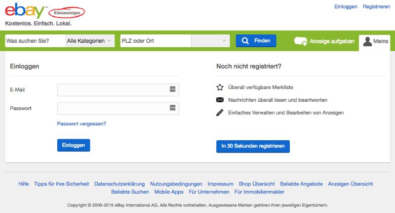 Fake-Webseite im Design von ebay-kleinanzeigen