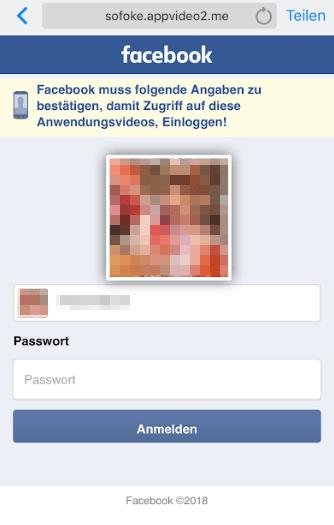 Fake-Webseite im Namen von Facebook