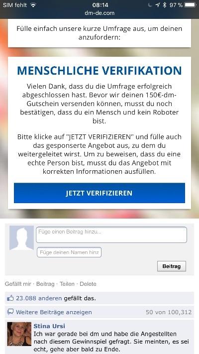 Kettenbrief WhatsApp DM 150 Euro Gutschein