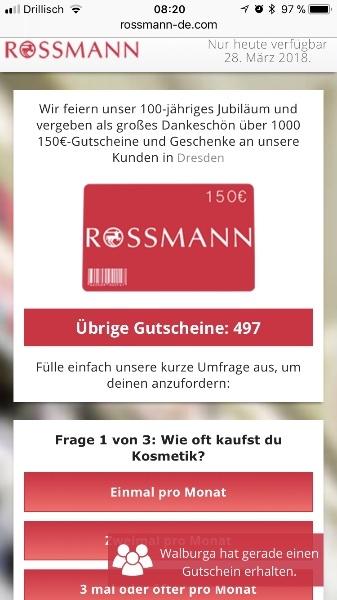 Kettenbrief WhatsApp Rossmann 150 Euro Gutschein