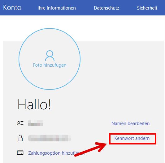 live mail passwort ändern