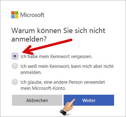 live konto passwort vergessen