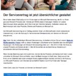 Microsoft Mail zu Änderungen der Nutzungsbedingungen deutsch
