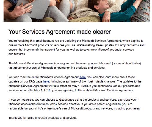 Microsoft Mail zu Änderungen der Nutzungsbedingungen englisch