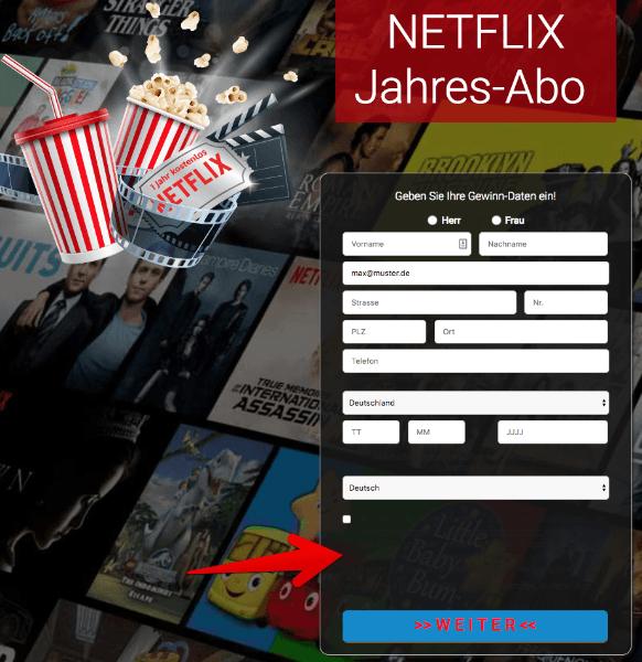 Netflix Jahres-Abo Bedingungen bei toleadoo unslesbar