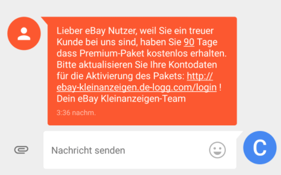 ebay kleinanzeigen phishing sms sp ht kreditkartennummer aus. Black Bedroom Furniture Sets. Home Design Ideas