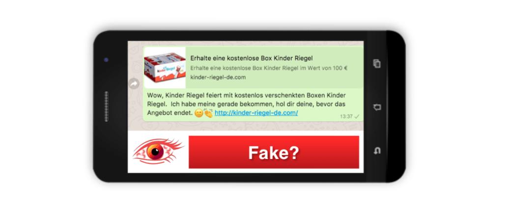 Spam Fake Kettenbrief Kinder Riegel Box