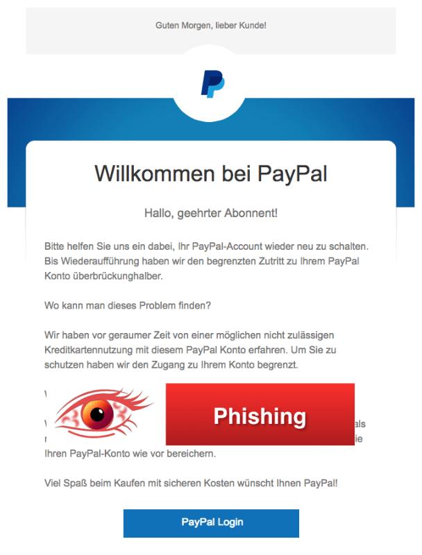 2018-04-04 PayPal Phishing Willkommen bei PayPal