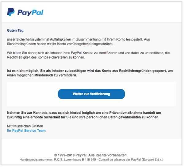 2018-04-09 PayPal Spam Nachricht vom Kundendienst