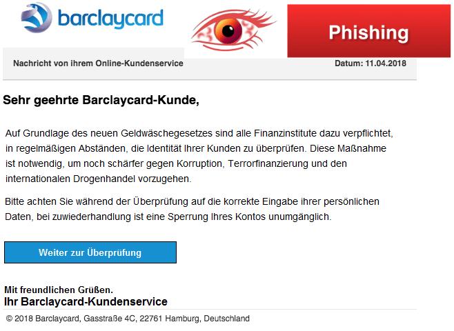 2018-04-11 Barclaycard Spam Nachricht von ihrem Online-Kundenservice