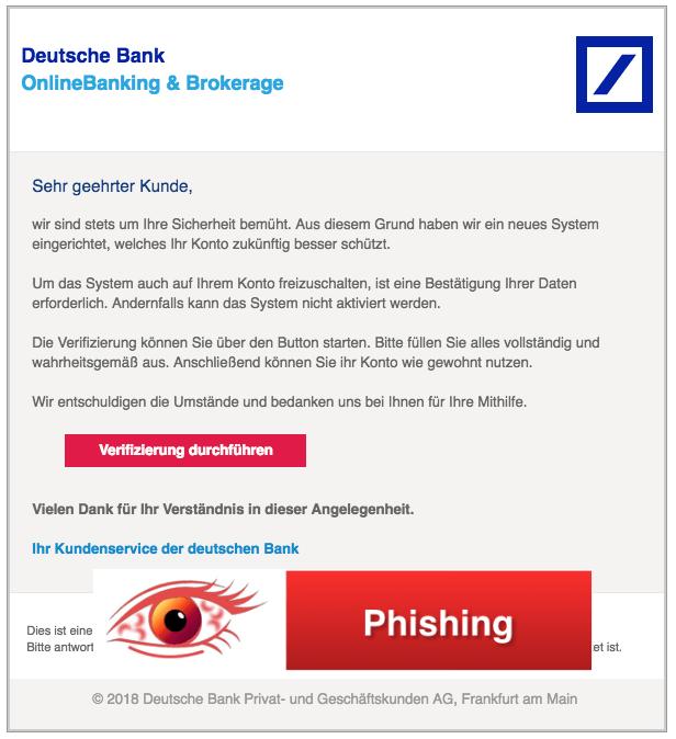 2018-04-11 Deutsche Bank Spam Verifizierung mehr Sicherheit