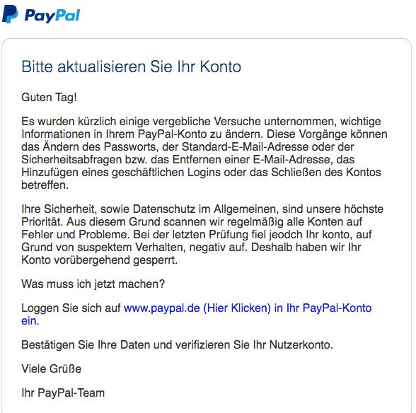 2018-04-14 PayPal Phishing Versuchte Änderungen des PayPal-Kontos