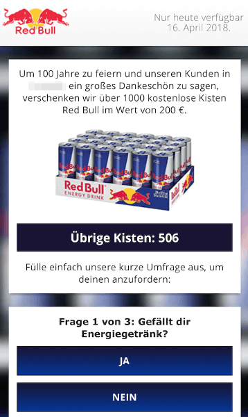 2018-04-16 Kettenbrief WhatsApp eine kostenlose Kiste Red Bull 1