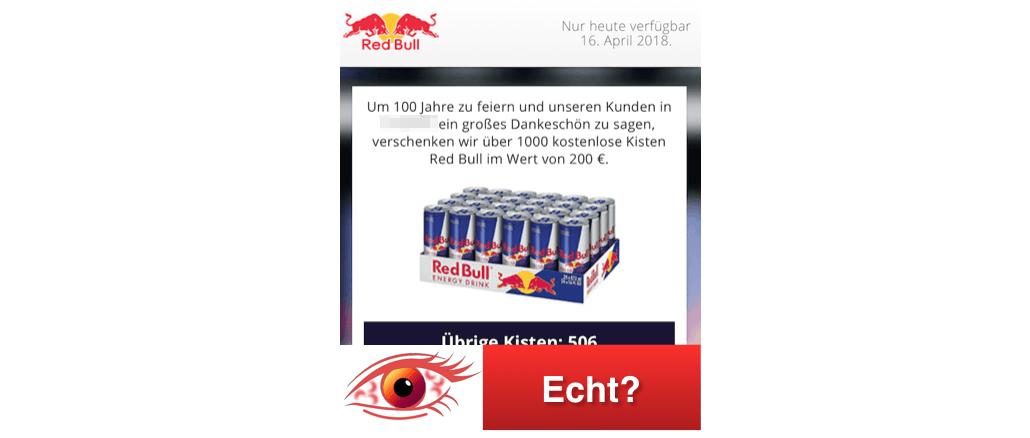 2018-04-16 Kettenbrief WhatsApp eine kostenlose Kiste Red Bull ist Fake