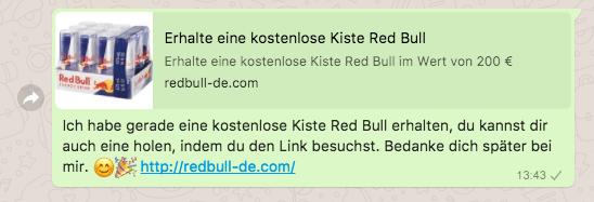 2018-04-16 Kettenbrief WhatsApp eine kostenlose Kiste Red Bull