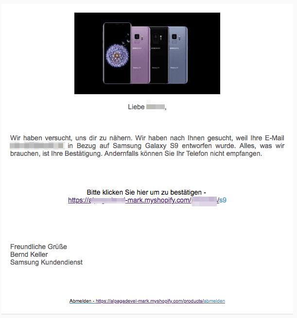 2018-04-16 Samsung Galaxy S9 Wartegeschenk Abofalle