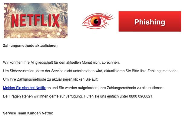 2018-04-17 Netflix Phishing Mail Aktualisieren Sie Ihre Zahlungsinformationen