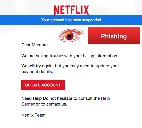 2018-04-23 Netflix Spam Mail Please Update Your Payment Information